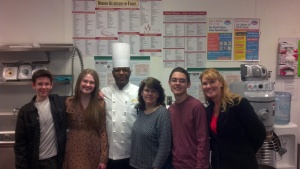 "At the supportive ""Allergen Safe"" South Point Hotel Casino (in the kitchen). With Keith Norman, Kim Bell Hollinger, and Kendall Hollinger (our Honorary Teen Chair). Check out all the food allergy awareness posters! The South Point is also a proud sponsor of the FARE walk."